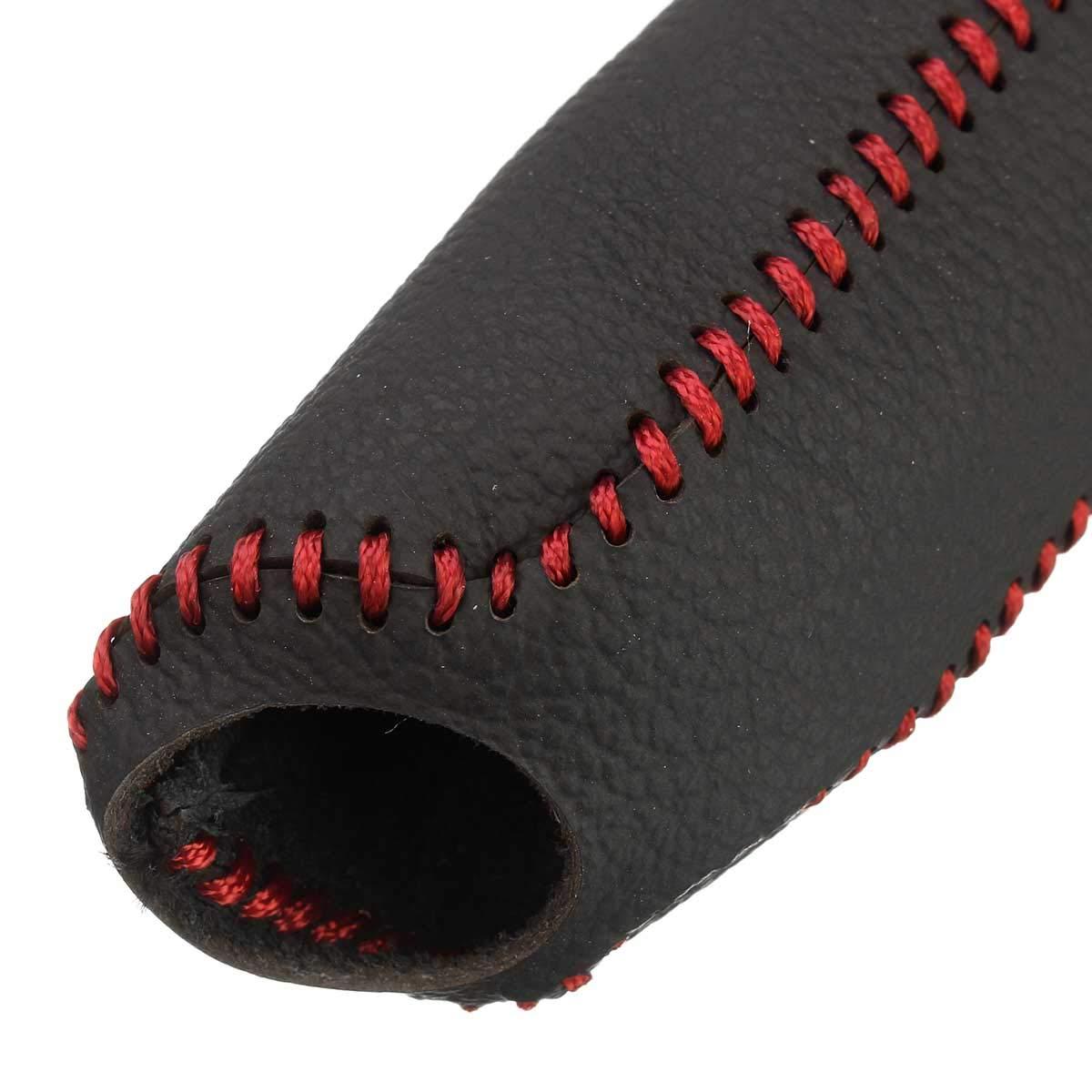 Negro Rojo AAlamor Cuero Genuino Coche De La Cubierta del Freno De Mano del Freno Manual De La Funda Protectora Antideslizante para Honda Civic//Accord