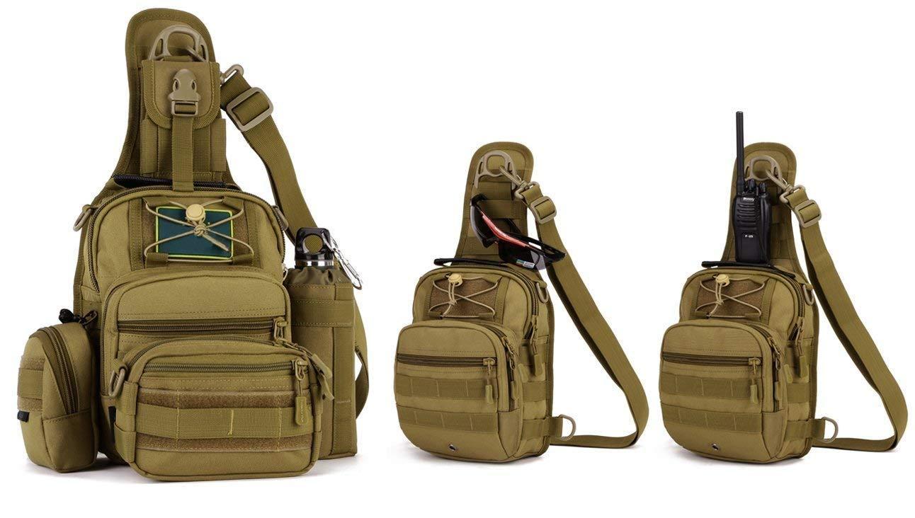 Yakmoo Mochila de Asalto Impermeable Estilo Militar T/áctico de Nylon Bolsa de Bandolera Bolso Cruzado Bolsa de Mano al Aire Libre Negro
