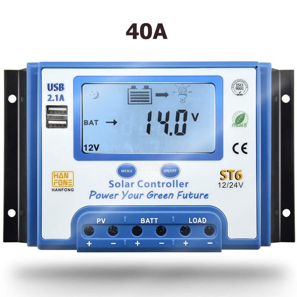 SolaMr 30A Solar Charge Controller 12V//24V Intelligent Regulator with LCD Display and Double USB Port for Solar Panel Battery ST6-30A