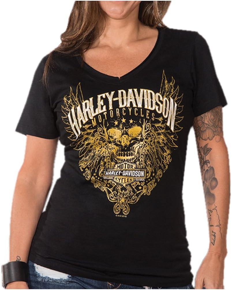 Black Harley-Davidson Women/'s Shine Premium Laced Up V-Neck Short Sleeve Tee