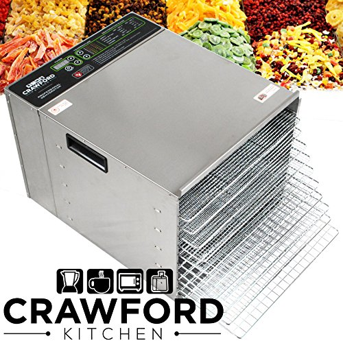 Crawford-Kitchen-Commercial-Food-Dehydrator-Stainless-Steel-Easy-To-Clean-Body-Pro-Quality-Dehydrated-Raw-Food-Jerky-Maker-1000W-Ultra-High-Effieciency-Design