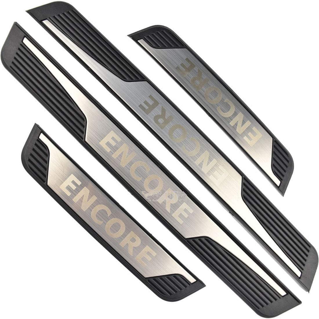 Black For Buick Encore Accessories 2013-2018 Steel Door Sill Scuff Plate Door Sill Protector Guard Cover Trim 4pcs