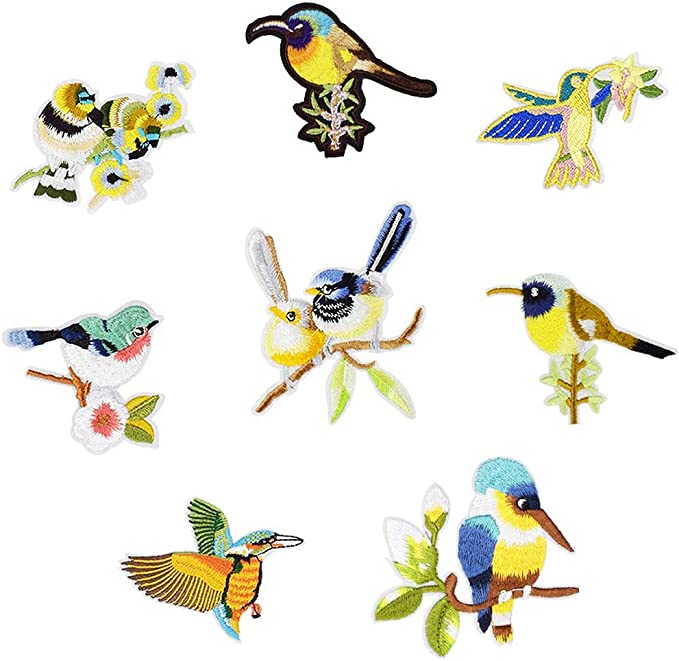 8pcs Mixed Patches Birds for Clothing Iron On Embroidered Applique DIY Decor