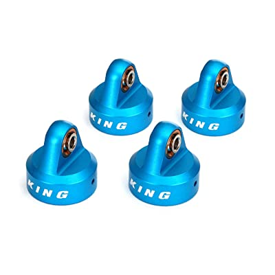 Traxxas TRA8457 - Shock caps, Aluminum (Blue-Anodized), King Shocks (4): Toys & Games