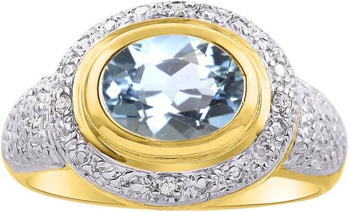 RYLOS Anillo de mujer clásico con gema ovalada y diamantes brillantes auténticos en plata chapada en oro amarillo de 14 K .925-9 x 7 mm piedra de color gran anillo para dedo medio o puntero