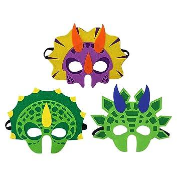 BESTOYARD Máscaras de Dinosaurios de Espuma 3PCS Favores de Fiesta de niños Favores de Fiesta de