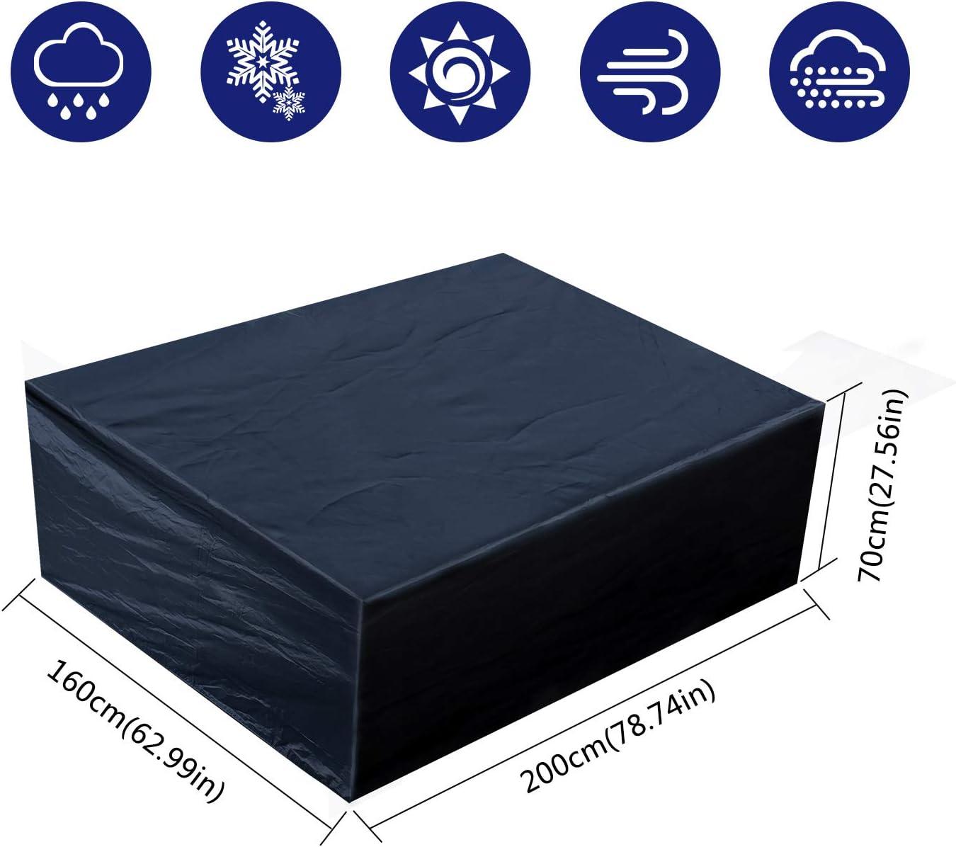 Fittolly Funda para Muebles de Jardín Oxford Tela Impermeable Resistente al Polvo Anti-UV Protección para Mesa y Silla de Jardín (200x160x70cm/ 78,7x63x27,5 in)