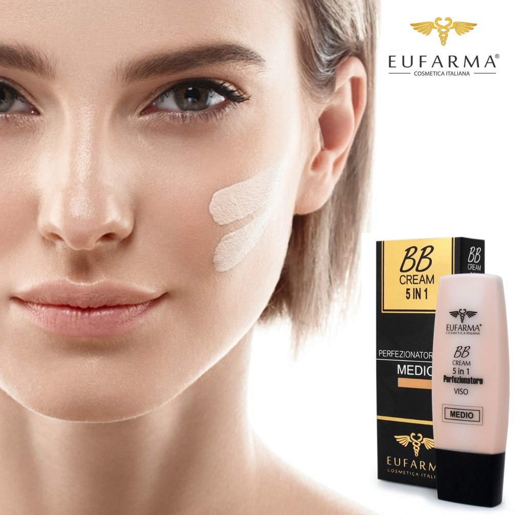 Bakaji BB Cream Fondotinta Medio 5 in 1 Crema Perfezionatore Viso Protezione SPF 20 Eufarma Cosmetica Italiana