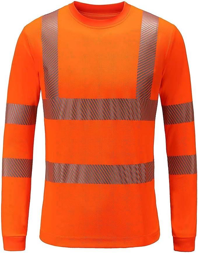 Orange XL Maglietta Hi Vis T-Shirt ANSI Classe 3 Riflettente Sicurezza Manica Corta ALTA Visibilit/à