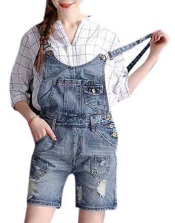 Amazon.com  Women s Durable Cute Denim Plus Size Overalls Short Shortalls  in Distressed Light Wash Blue Oversize 27