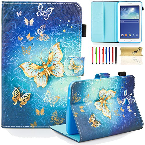 Galaxy Tab 3 Lite 7.0 Case, SM-T110/T111/T113 Case, Dteck PU Leather Flip Wallet Case with [Auto Sleep/Wake Feature] Smart Folio Stand Cover for Samsung Galaxy Tab 3 Lite 7.0 inch-Golden Butterfly