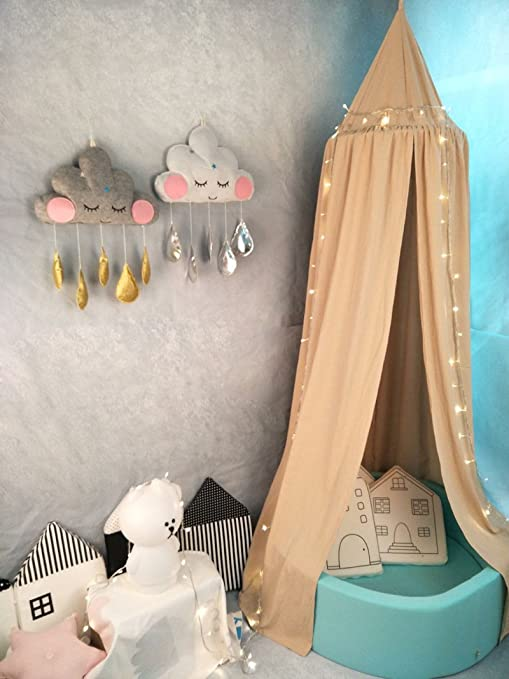 94.9 inch Princess Bed Canopy Mosquito Net for Kids Baby Crib Round Dome Kids Indoor Outdoor Castle Play Tent Hanging House Decoration Reading Nook Cotton Canvas Height 240cm Khaki