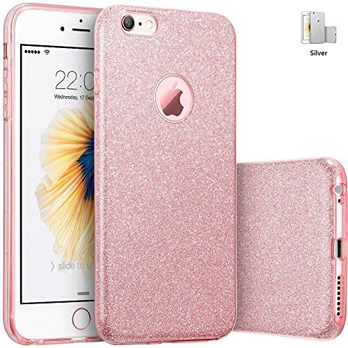iPhone 6 Plus Glitter Case Rose Gold Silicone with [Tempered Glass Screen Protector] Slim Shockproof Protective Thin Design Bling, Apple 5.5 Inch Smartphone, TPU+PC Soft Gel Shinny Sparkle - Rose Gold