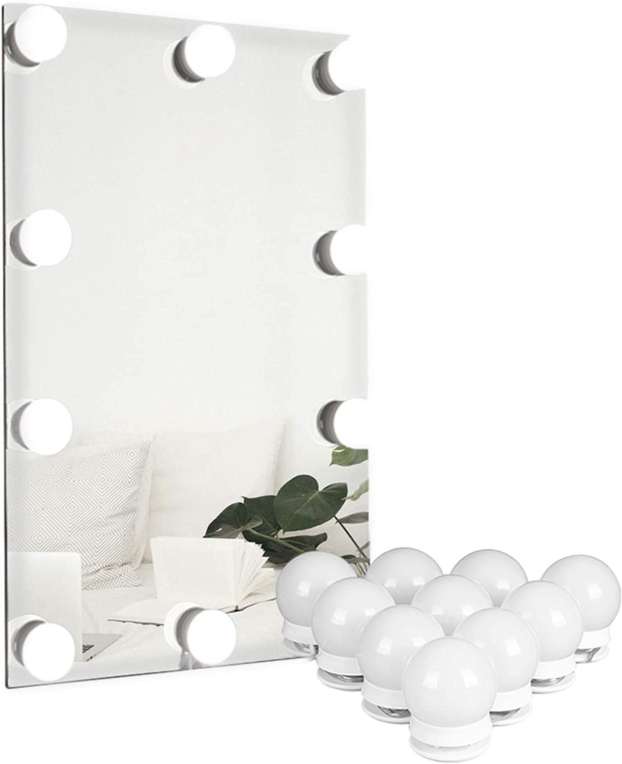 Amazon Com Waneway Vanity Lights For Mirror Diy Hollywood Lighted Makeup Vanity Mirror With Dimmable Lights Stick On Led Mirror Light Kit For Vanity Set Plug In Makeup Light For Bathroom Wall Mirror