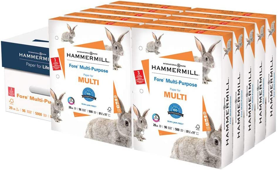 Hammermill Fore Multi-Purpose 20lb Copy Paper 8.5x11, 3 Hole Punched 10 Ream Case 5000 Sheets Made in USA 96 Bright 103275C