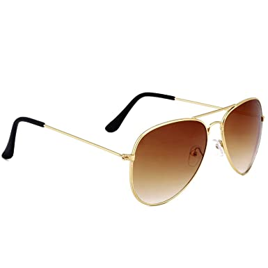 7cd8df6cb63 Dervin Brown Lens Golden Frame Aviator Sunglasses for Men and Women ...