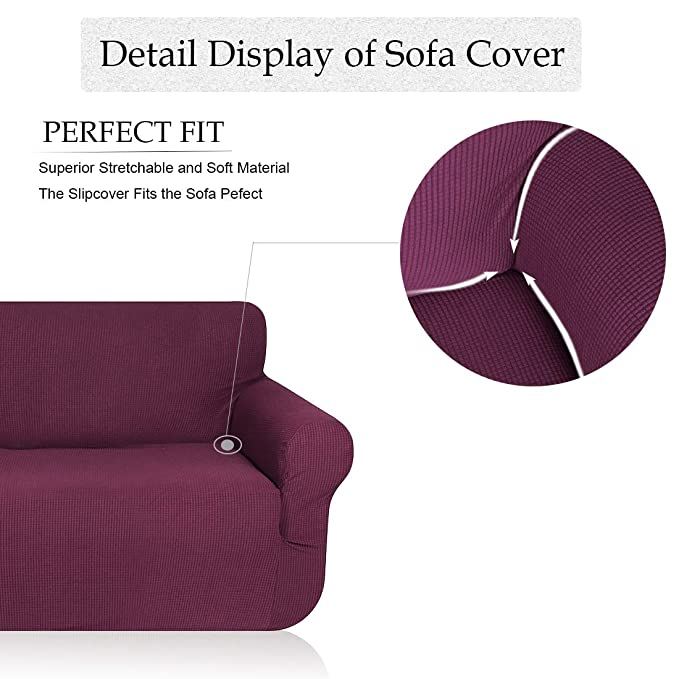misaya Stretch Sofa Cover Soft Non-Slip Furniture Protector Jacquard Checks 1-Piece Couch Slipcover for Sofa, Purple