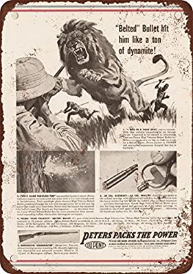 1939 Peters Ammunition and African Lions Vintage Look Reproduction Metal Tin Sign 12X18 Inches