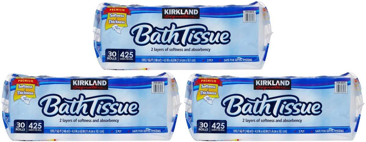 Kirkland Signature HaDH Bath Tissue 2-Ply - 425 Sheet, 30 Count 3 Pack