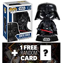 Darth Vader: Funko POP! x Star Wars Vinyl Bobble-Head Figure w/ Stand + 1 FREE Official Star Wars Trading Card Bundle [23007]