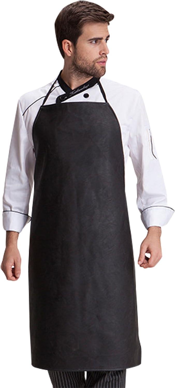 FEOYA - Delantal Peto de Cuero Impermeable Anti-aceite para Trabajo Restaurante Cocina Chefs Delantal Babero Carnicería para Hombre Mujer Unisex