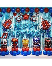 Superhero Balloon Themed Birthday Party Backdrop Decorations Party Supplies, Superhero, Captain America, Iron Man Balloon Themed For Your Birthday Party - Blue