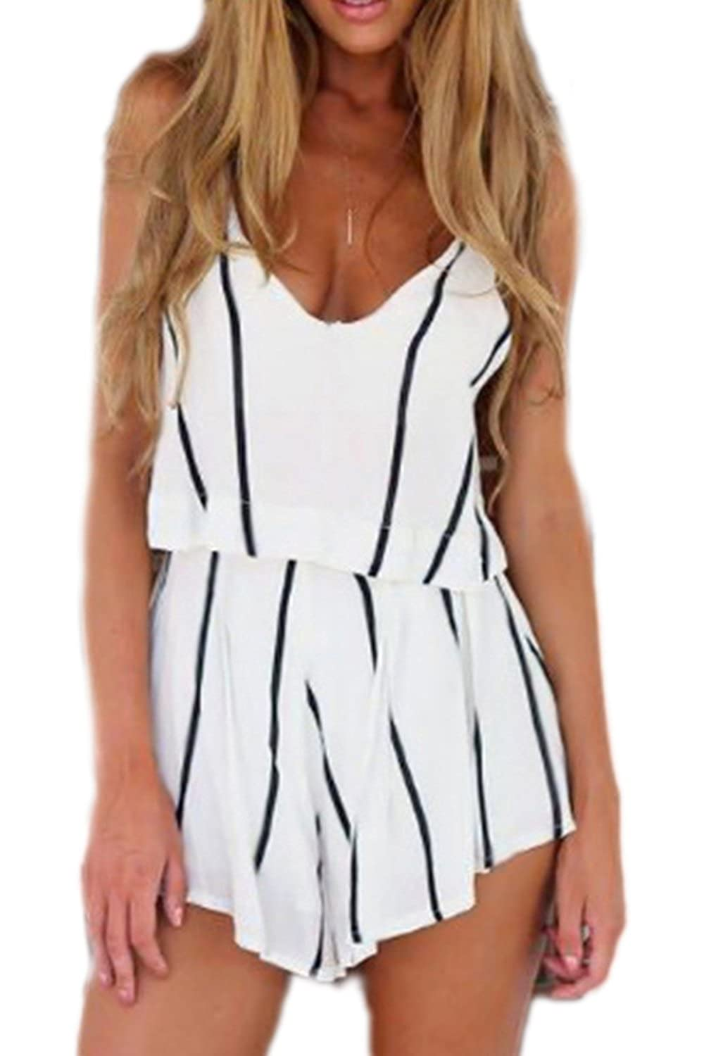 Vemubapis Women's Sleeveless Stripes Cami Shirts Shorts Beach Sets CAANYLS03