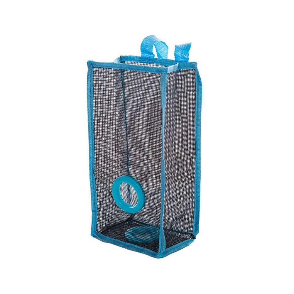 OUNONA Dispensador de bolsas de basura de malla colgante Organizador plegable Bolsas de basura titular Bolsa de supermercado Recipientes de reciclaje Almacenamiento de la cocina - Tamaño L (azul)