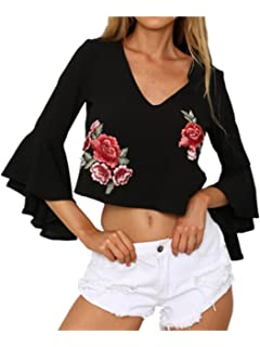 8e5b7b1caf LILICAT Women T-Shirt Blouse Ladies Sexy Halter Appliques Red Rose Print  Loose Flare Sleeve Deep V Backless V Neck Casual…
