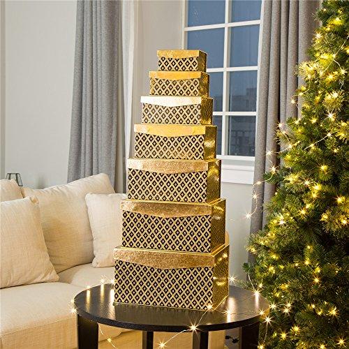 (Glitzhome Set Christmas Thanksgiving Day Gift Box, 7 Piece, Gold )
