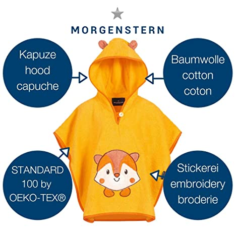 Morgenstern Children Poncho with hood for bathing with Racoon Embroidery one size cream