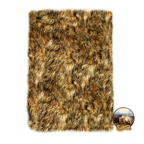 Plush Faux Fur Amazon Wolf Skin - Shaggy Shag Bear Skin Pelt Rug - Natural Golden Brown Tones with Black Tips - Thick Soft - Accent Rug (2'x4')