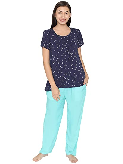 ec06e14c26 Clovia Women s Cotton Rich Butterfly Print Top   Pyjama Maternity Set  (LS0348P08 Blue M)