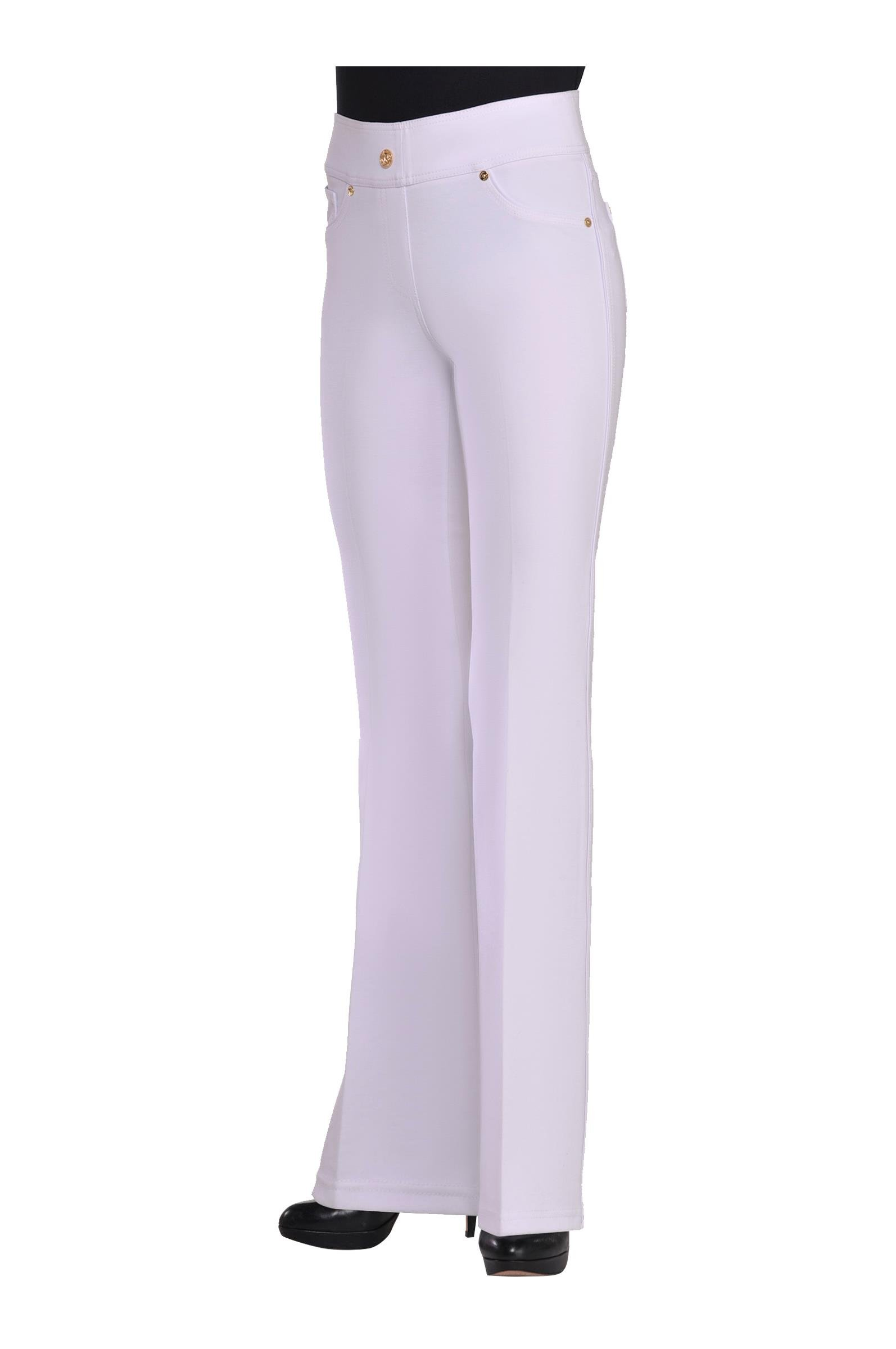 Nygard Women's Petite Slims 2.5 Boot Cut with Piping White