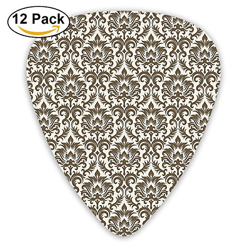 Country Old Print - Newfood Ss Floral Damask Featuring Scrolled Motifs Antique Victorian Style Print Old Country Guitar Picks 12/Pack Set