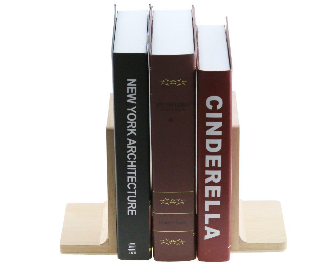 Sujetalibros de madera de abedul estilo japonés para sujetar libros, extremos para estantes: Amazon.es: Bebé