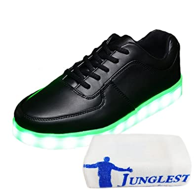(Present:kleines Handtuch)Schwarz 2 EU 37, mode Aufladen Turnschuhe Sneaker mit USB LED Leuchte