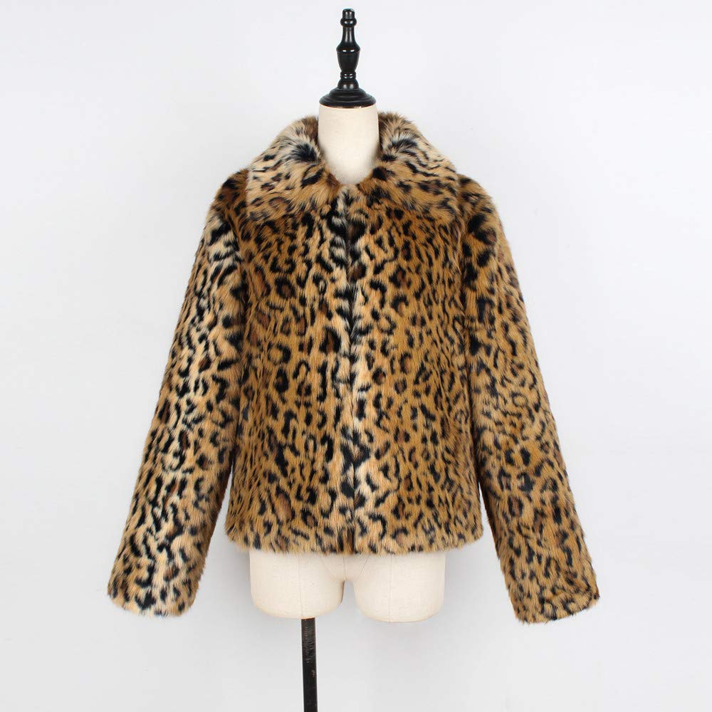 Amazon.com: Womens Winter Leopard Print Faux Fur Coat TIFENNY Collar Long Sleeve Jacket Parka Short Outerwear: Clothing