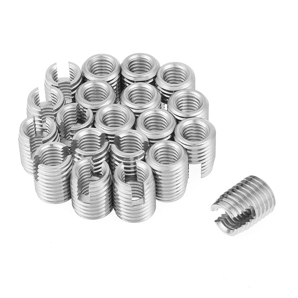 20pcs Stainless Steel SUS303 Self Tapping Slotted Screw Thread Insert Nuts for Helical Repair M8 x 15mm