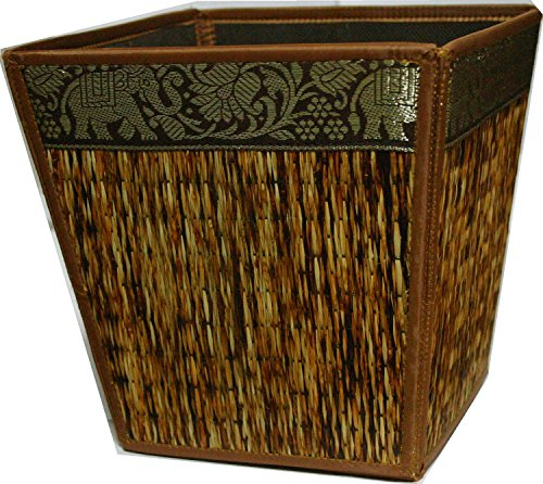 TOPMOST Handmade Thai Woven Straw Reed Wicker Square Waste Basket with Silk Elephant Design (Light-Brown)