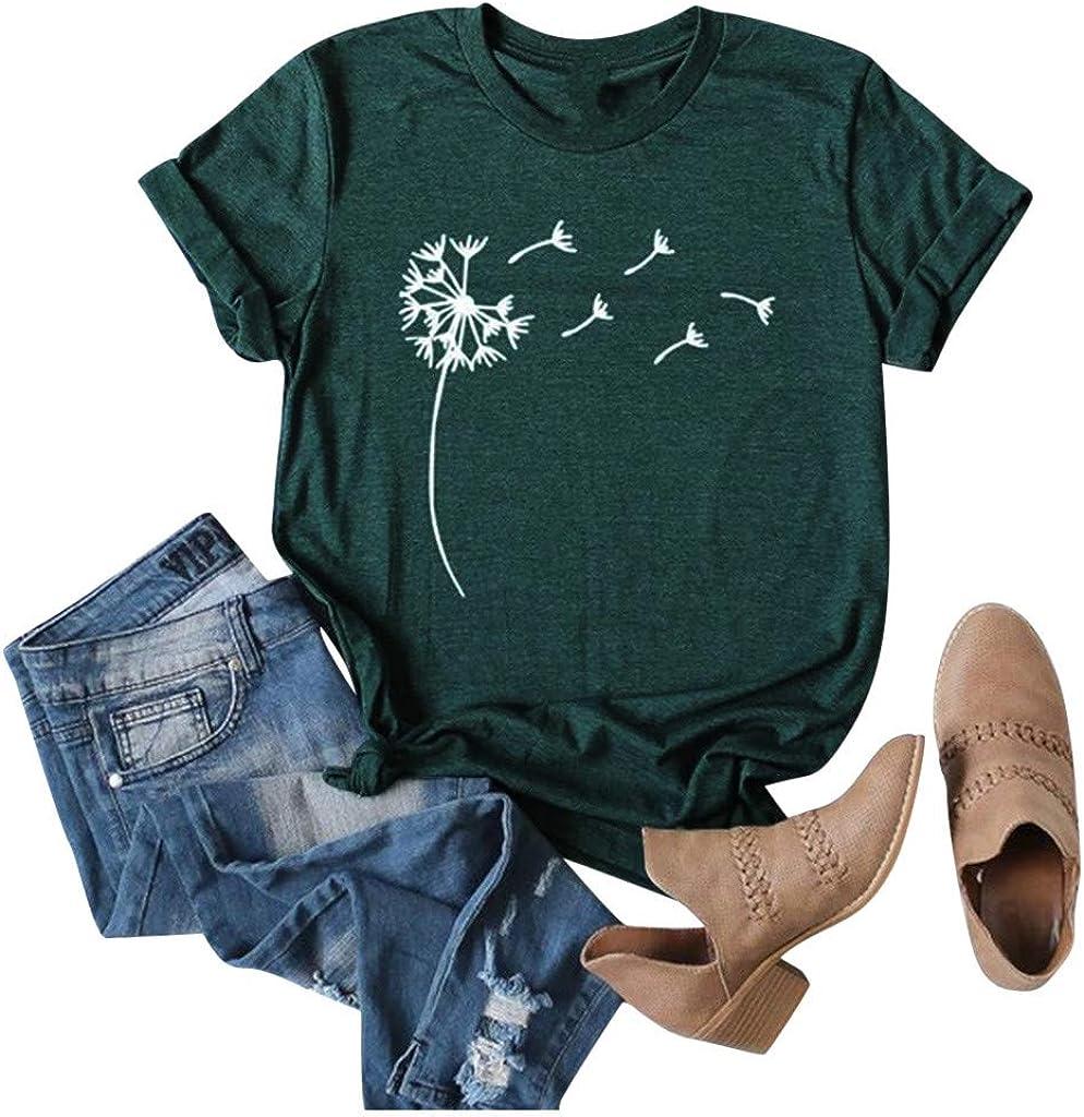 Womens T-Shirt Dandelion Print Short Sleeve Crew-Neck Casual Tee Tops Ladies Pullover Tops Outdoor Summer Streetwear