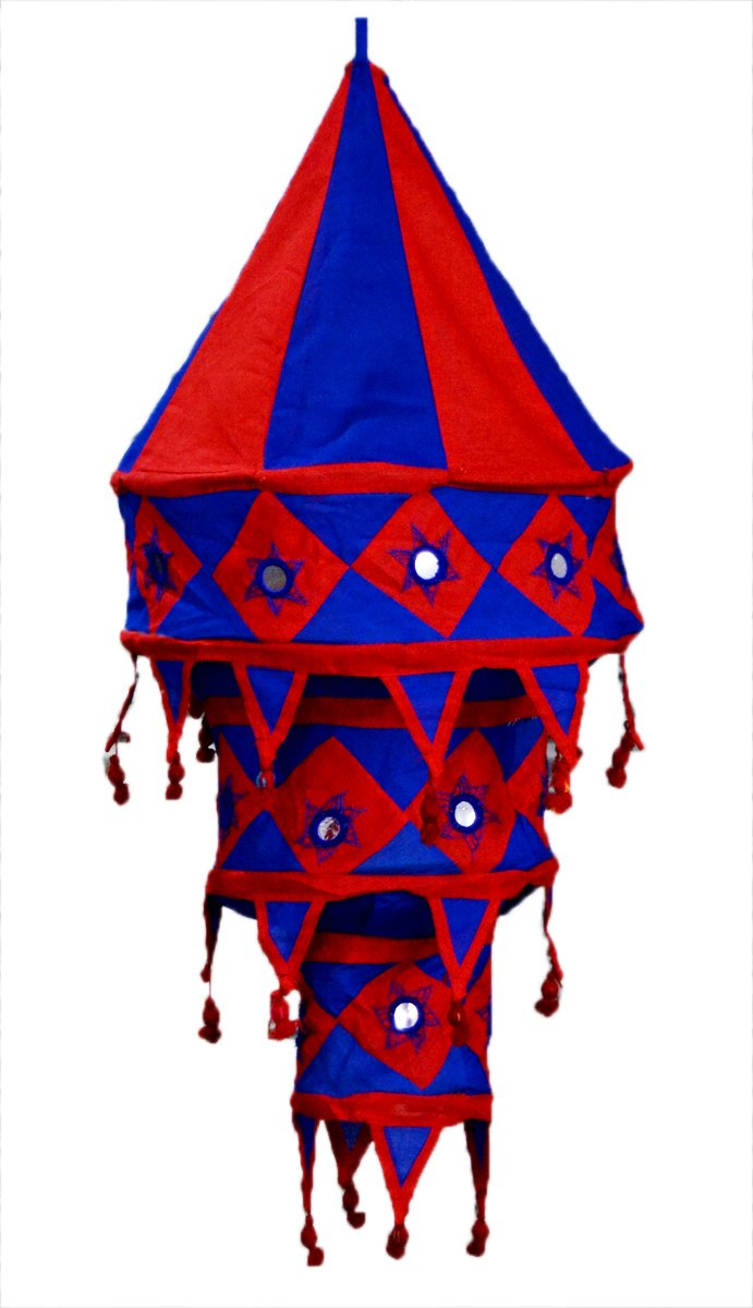 Indian Ethnic Hanging Lampshade Embroidered Mirror Work Home Decor 3 Step Shade