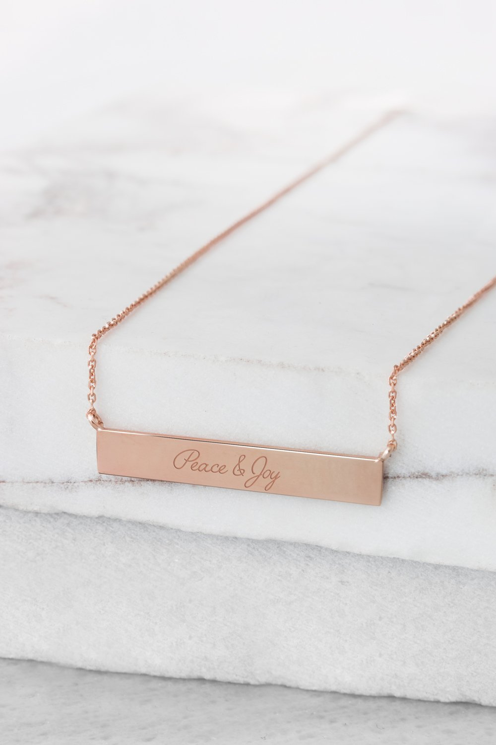 Custom Wish Bar Necklace, Unique Wish Pendant, 9K, 14K, 18K Gold Necklace, Rose Gold Bar, Engraved Necklace, Personalized Gift For Her /code: ntg38: 0.003