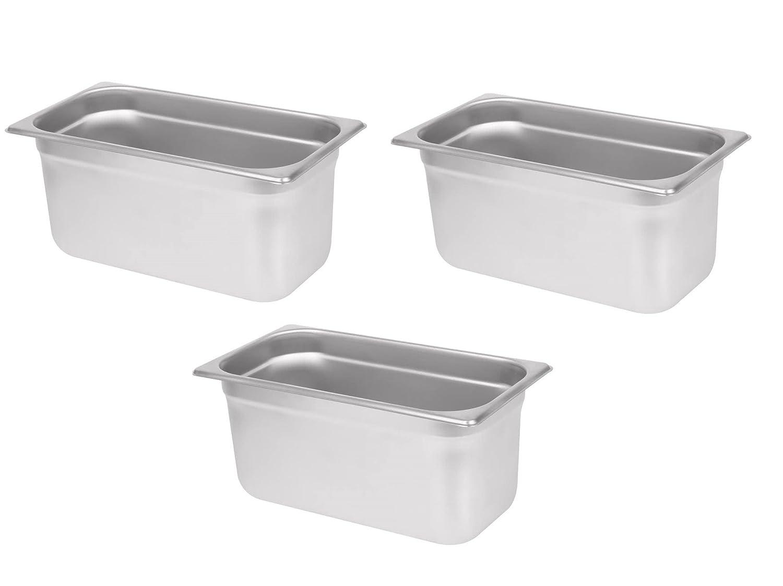 "Premier Steam Pans 3 Pack 1/3 Size 6"" Deep Hotel Chafer Food Pan Stainless Steel Steam Anti-Jam Table $10 MFR Rebate"