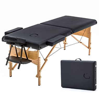 Massage Table Portable Massage Bed Spa Bed 73  Long 28  Wide Hight Adjustable Massage Table 2 Folding Massage Bed Spa Bed Facial Cradle Salon Bed W/Carry Case