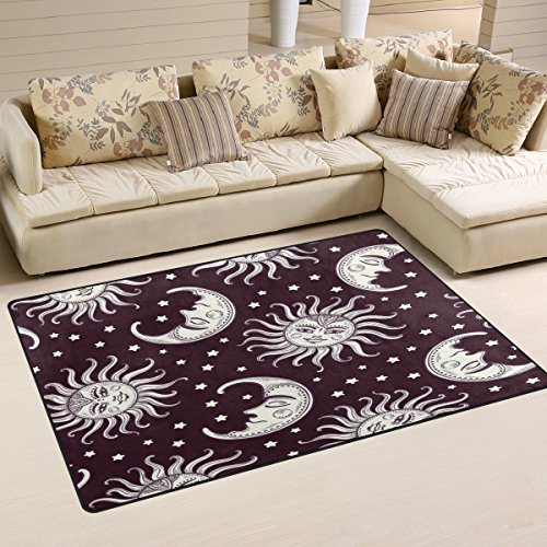 WOZO Sun and Moon Star Vintage Area Rug Rugs Non-Slip Floor Mat Doormats for Living Room Bedroom 60 x 39 inches