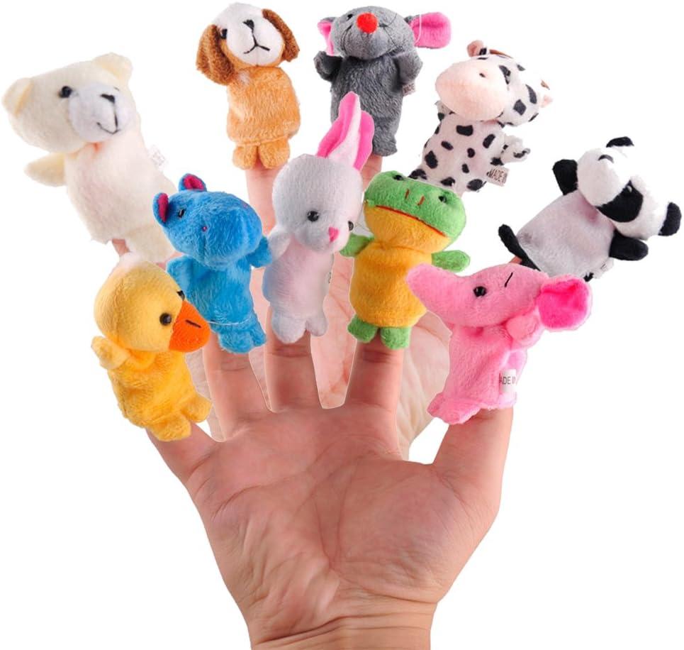 ARTEM Finger Puppets Toys Soft Velvet Plush Animal Dolls for Children,Story Time,Shows,Playtime,Schools(10Pcs Different Cartoon Animal)