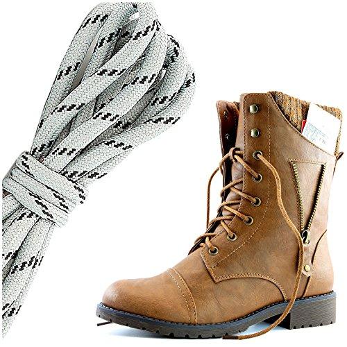 Dailyshoes Femmes Lace Militaire Boucle Boucle Bottes De Combat Fermeture À Glissière Cheville Haute Carte De Crédit Exclusive Poche, Gris Noir Tan Pu