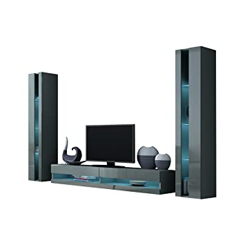 Wohnwand Vigo New III Anbauwand, Design Mediawand, Modernes Wohnzimmer Set,  Hängeschrank TV Lowboard