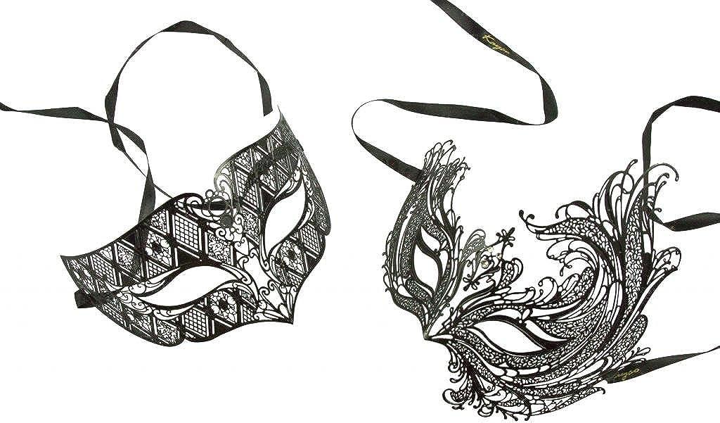 His /& Hers Phantom Masquerade Masks Bestselling Black Couples Half Mask New